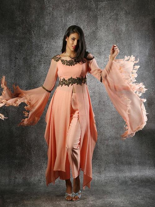 Two-piece peach dress