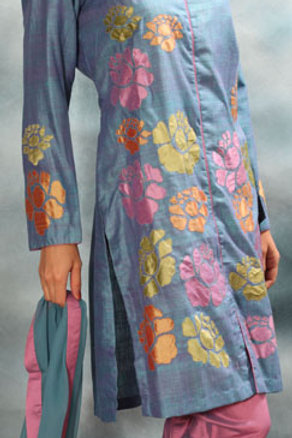 Lavender Blue Salwar Suit with  Applique Work