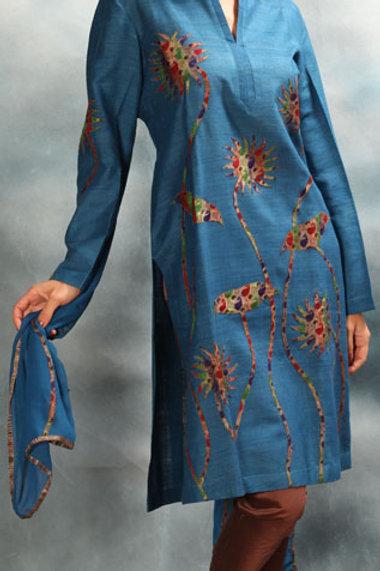 Blue Applique Work Salwar Suit