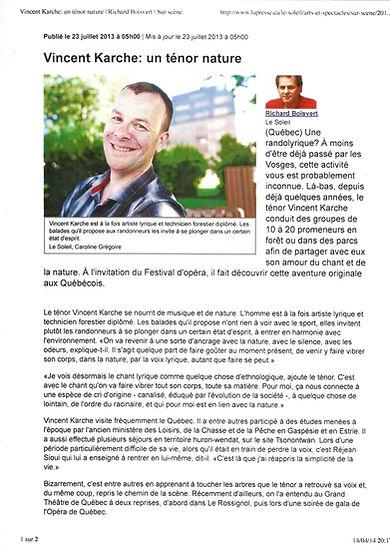 """Journal """"le Soleil"""" Québec Juillet 2013"""