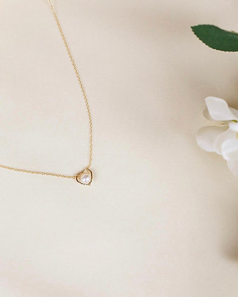 Oona heart pearl necklace (18k gold)