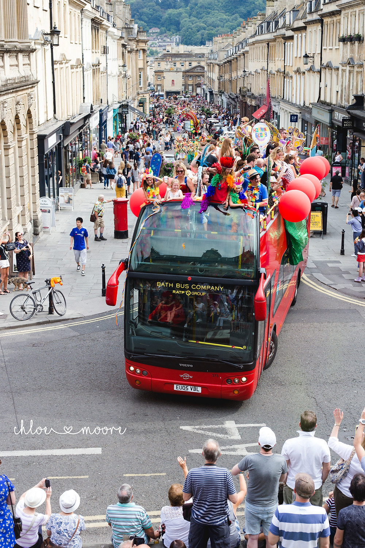 Bath Carnival 2018, pride, LGBT+ rainbow flag, Festival. Super Pirates, milsom street