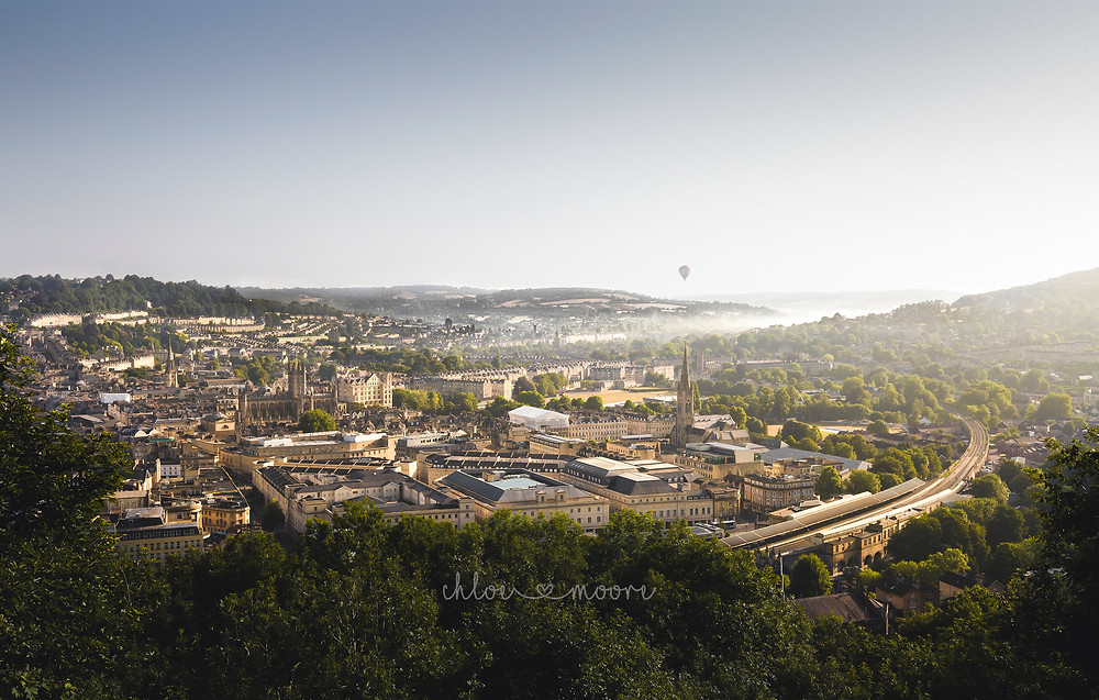City of Bath, England. Panoramic view over Bath from Alexandra Park. Activities for children, summer holidays