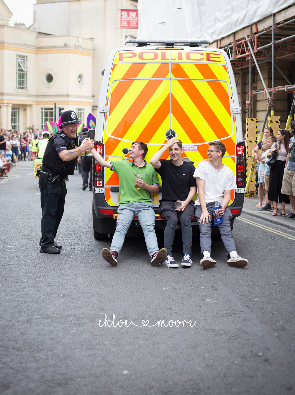 Bath Carnival 2018, pride, LGBT+ rainbow flag, Festival. Super Pirates, police
