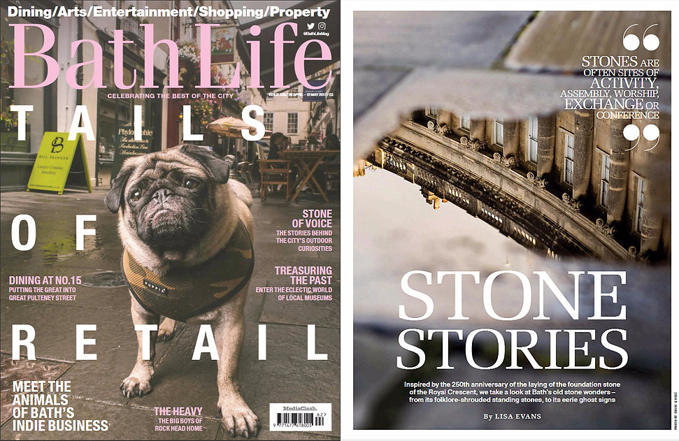 Bath Life Magazine feature. Pug on cover. Royal Crescent. Bath architecture