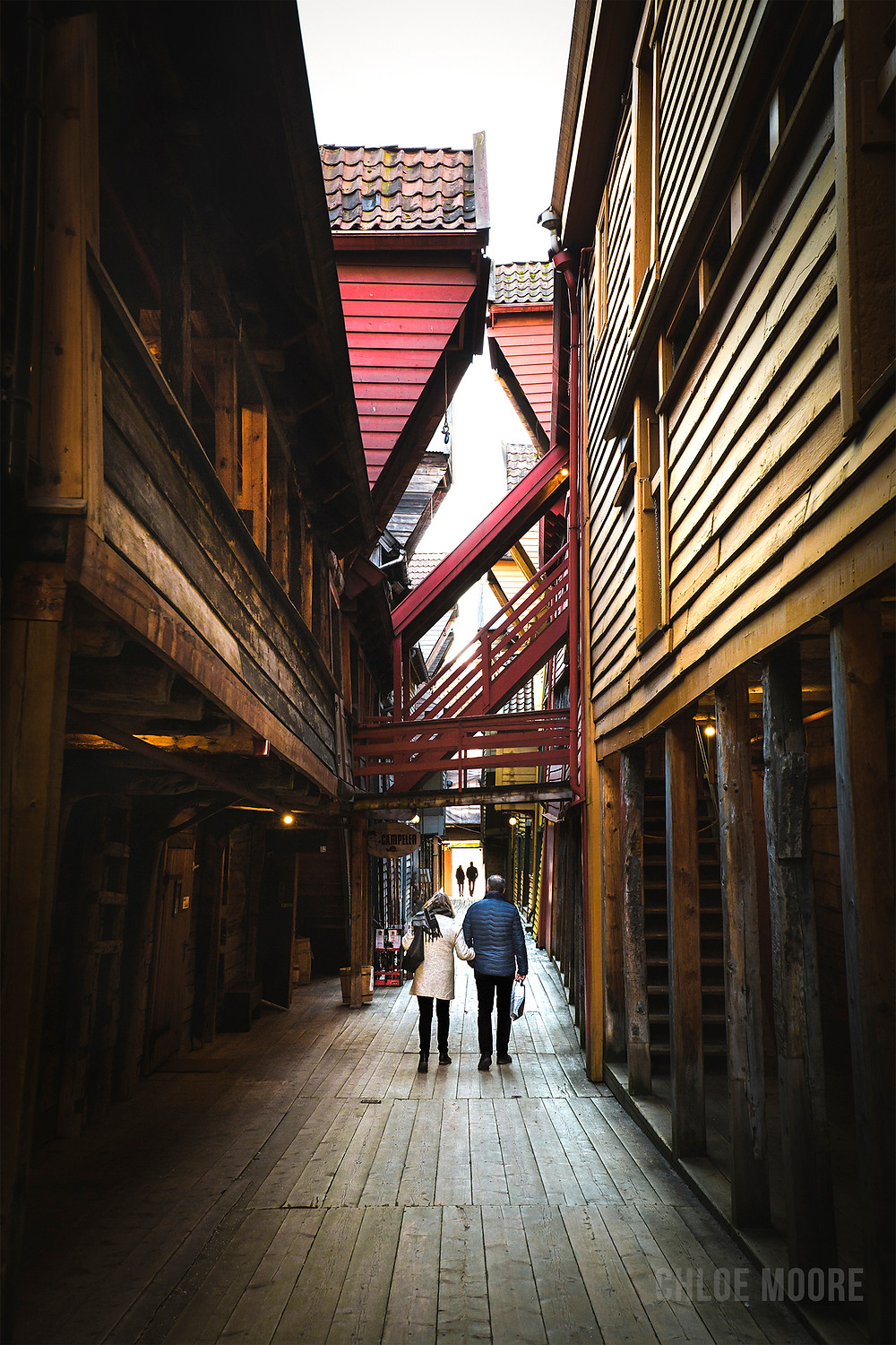 historic unesco world heritage site alleyway. Bergen, Bryggen, Norway