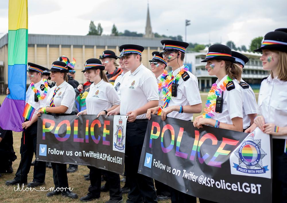 Bath Carnival 2018, pride, LGBT+ rainbow flag, Festival. Super Pirates, police