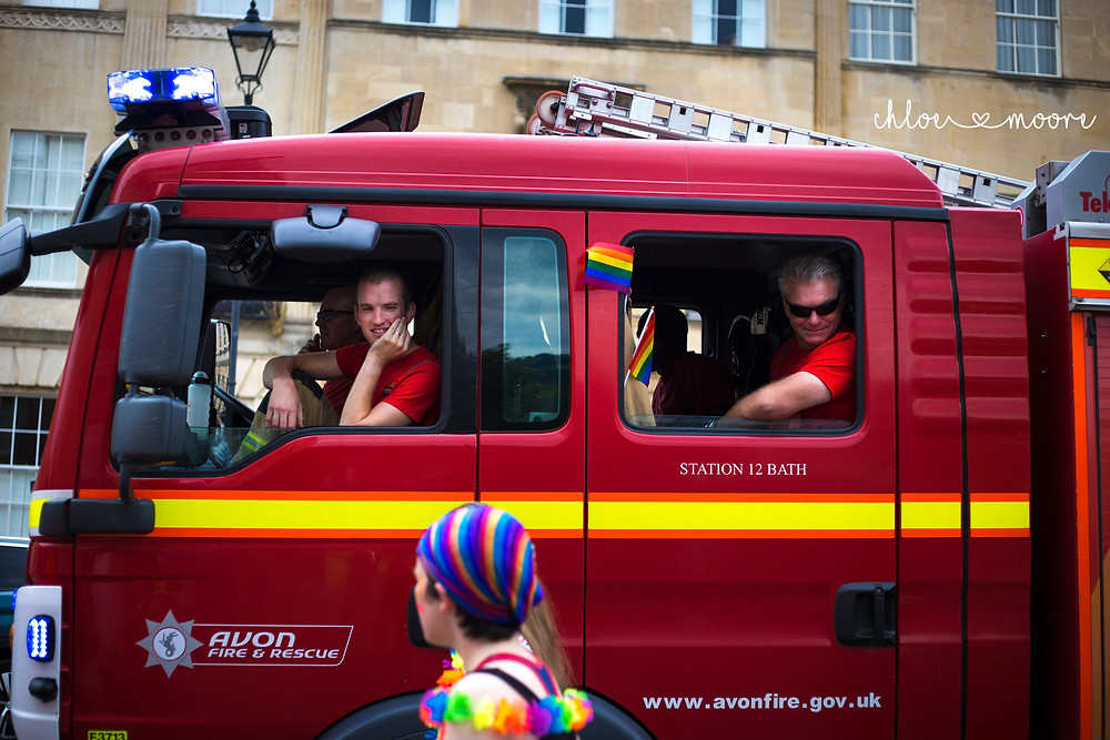 Bath Carnival 2018, pride, LGBT+ rainbow flag, Festival. Super Pirates, fire engine