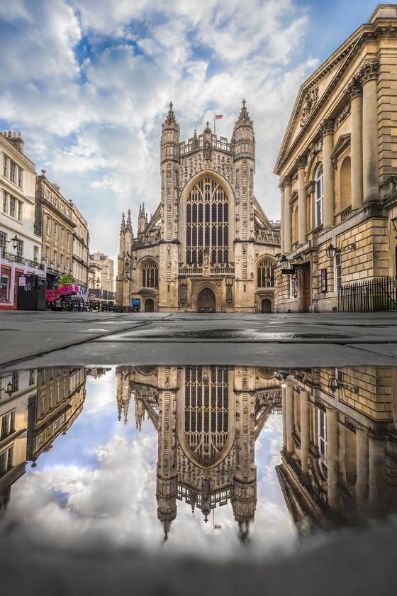 Bath Abbey Puddle Reflection