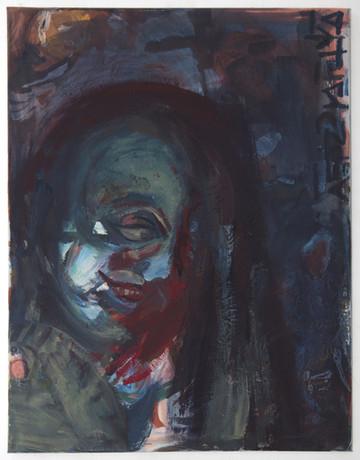 Die Grinsende, 80 x 60 cm, egg tempera on canvas, 2018