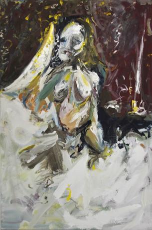 Amenij, 180 x 120 cm, egg tempera on canvas, 2018