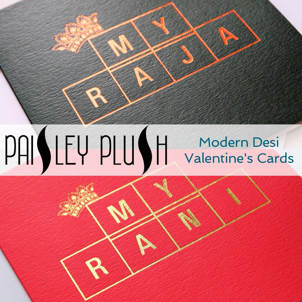 Modern Desi Valentines Card, Indian Valentines Card, Asian Valentines Card, Paisley Plush