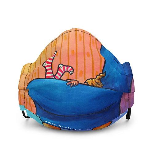 NICHOL FACE MASK: Striped Socks in Blue Chair