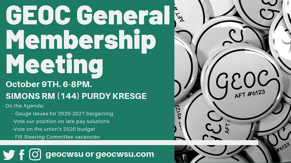 Text Reads - GEOC General Membership Meeting. October 9th. 6-8pm. Simons RM (144) Purdy Kresge. On the Agenda - -Gauge Issues for 2020-2021 Bargaining -Vote for our position on late pay solutions -Vote on the union's 2020 budget -Fill Steering Committee vacancies. Twitter Icon. Facebook Icon. Instagrom Icon. geocwsu or geocwsu.com. On the right an image shows a pile of GEOC buttons with the GEOC logo. GEOC in text with a circle around it and AFT #6123 underneath
