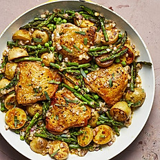 Skillet Chicken Thighs with Organic Vegetables