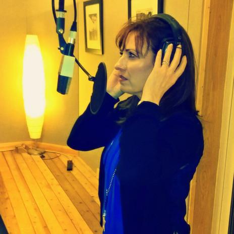 Helen recording vocals