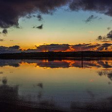 Reflections at sunrise on the river Bann