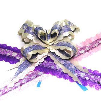 Бант-бабочка 30мм ажурный с рисунком глитер уп.10шт/12000шт Р62