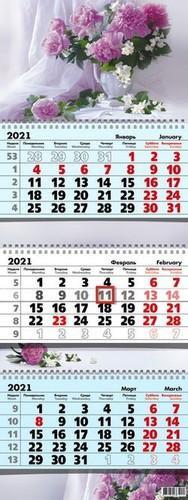 9127 КАЛЕНДАРЬКВАРТАЛЬНЫЙ 2021 ПИОНЫ (НАСТЕННЫЙ, ТРЕХБЛОЧНЫЙ), (КЕЛИНС, 2021), О
