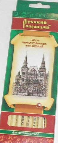 Карандаш ч.гр Русский карандаш 10шт. СК116.10 в к.к шестигран. нат. цвет корпуса