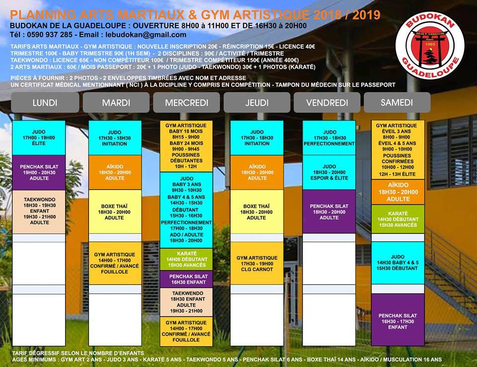 Budokan - Planning et Horaires des cours