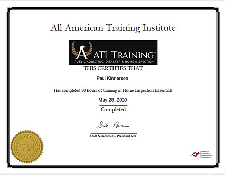 ATI Training Certificate BETR Home Inspection LLC