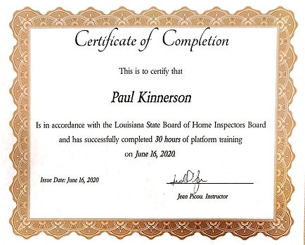 Platform Training Certificate BETR Home Inspection LLC