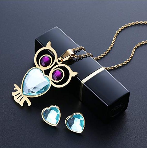 0f4c8c033eae CARSINEL 18K Oro para Joyería de Moda Collar de Mujer Juegos Búho Colgante  Acero