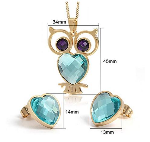 bcd0335e4c1c CARSINEL 18K Oro para Joyería de Moda Collar de Mujer Juegos Búho ...