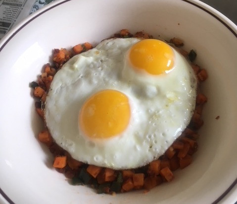 Sweet Potato, Poblano & Soyrizo Hash