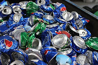 Aluminum cans that people brought in for recycling.