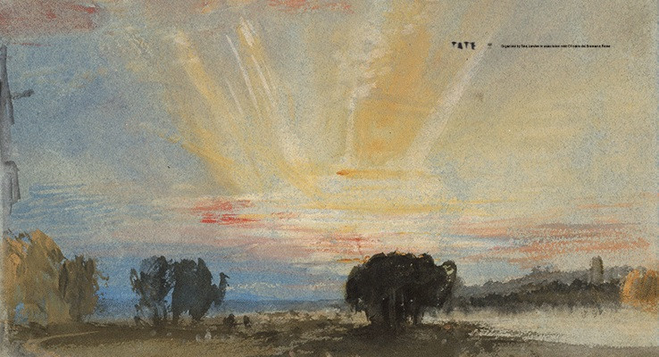 J.M.W. Turner - Sunset across the park from the terrace of Petworth House, 1827