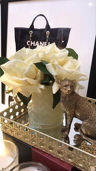 COTE NOIRE - HERRINGBONE FLOWER CREAM - CHAMPAGNE ROSE