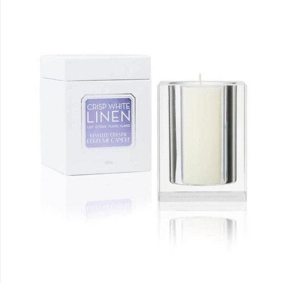Crisp White Linen 220g Bevelled Crystal Candle
