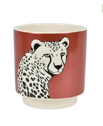 Leopard planter ceramic pot
