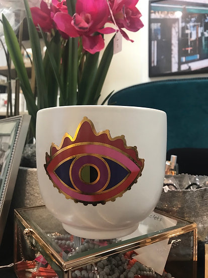 Ceramic eye planter pot - Purple Rain