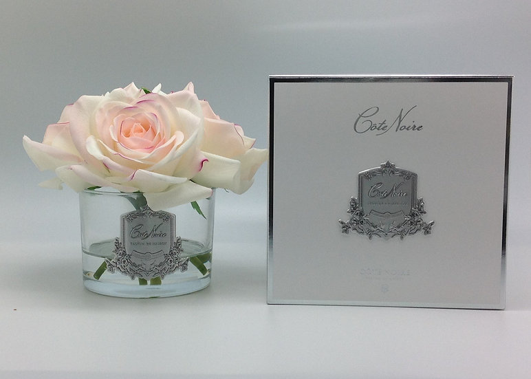5 pink blush rose in clear & silver crest by Cote Noire