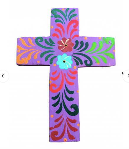 Hand Painted Cross Small Purple