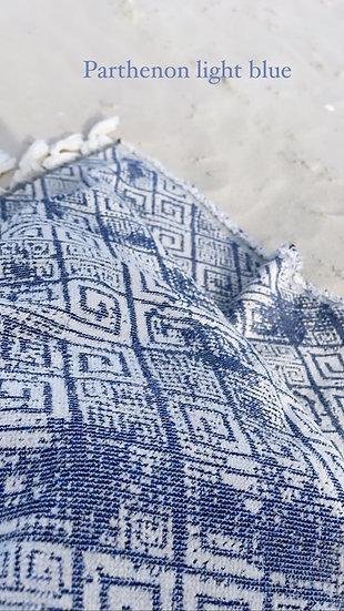 Greek cotton textile throw - Parthenon Blue