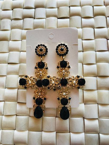 Baroque cross earings gold