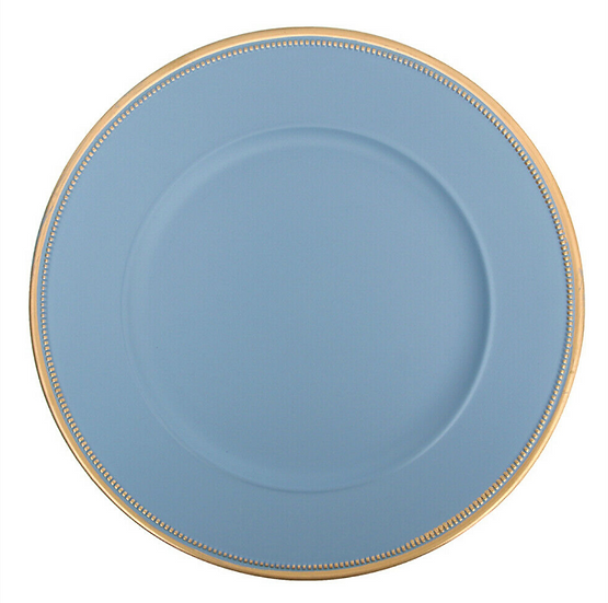Blue charger plate with gold edging 33cm