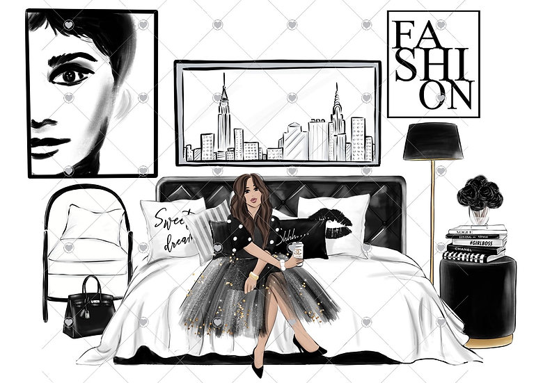 Fashionista bedroom A3 unframed (less watermark)