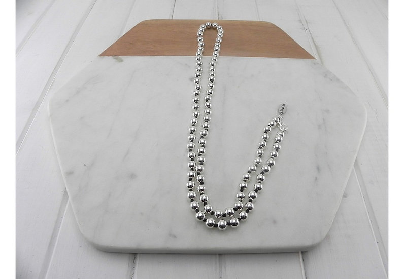 Silver Ball Chain With Black Knots Necklace LillyCo