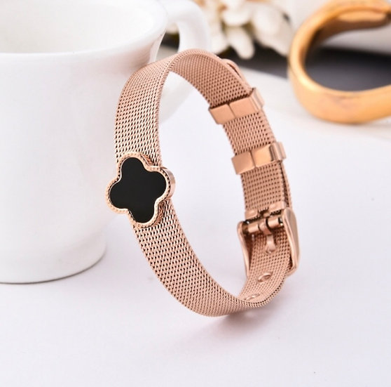 Rose Gold & Black Cross Bracelet