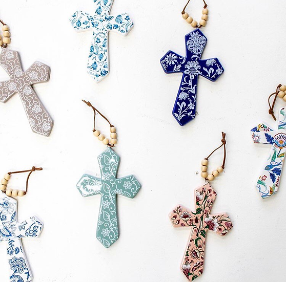 Small ceramic cross with beads