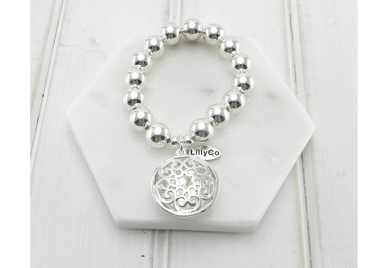 Silver Bracelet With Round Pendant