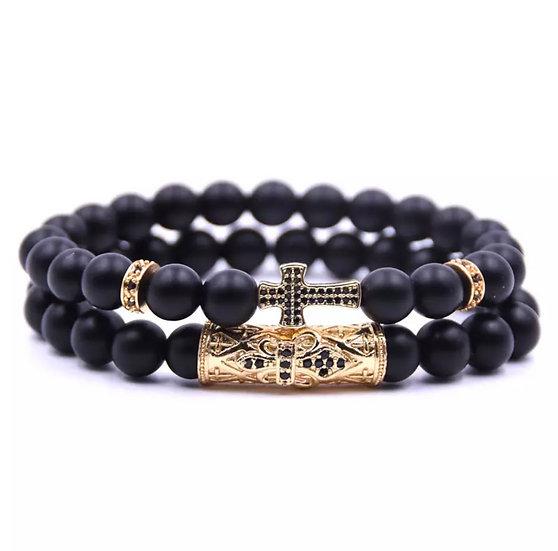 Matt black stone & gold detail bracelet - unisex