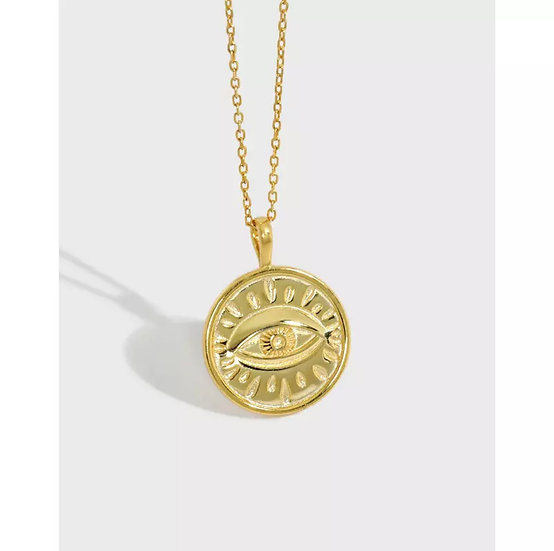 Evil eye pendant necklace triple gold plated 925 silver
