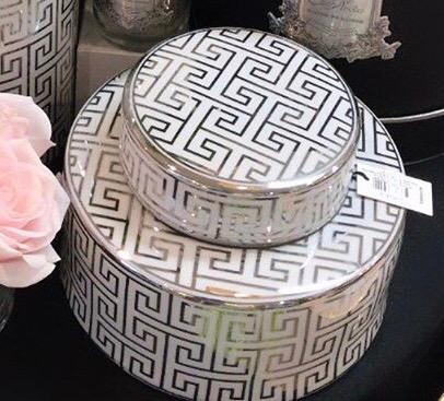 Greek key ceramic jar with lid - wide