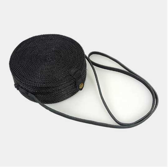 Black Round Canteen Cross over Bag - Large